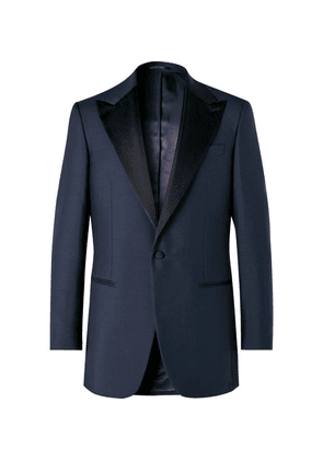 Maximilian Mogg - Midnight-blue Slim-fit Faille-trimmed Mohair And Wool-blend Tuxedo Jacket - Navy