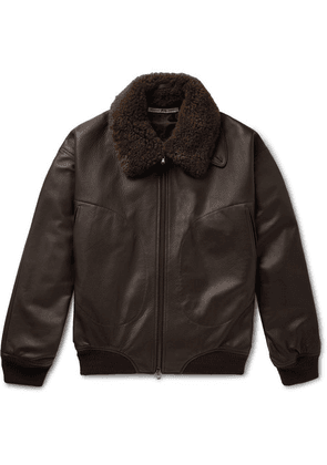 Connolly - + Goodwood Shearling-trimmed Leather Jacket - Dark brown