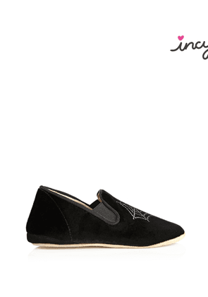 Charlotte Olympia Flats Women - WINCY BLACK Velvet/Suede w Crystals 25