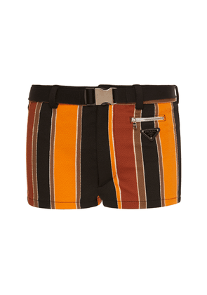 Prada Diagonale Baiadera Striped Belted Swim Shorts Size: 46