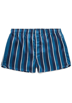 Derek Rose - Bailey Striped Silk Boxer Shorts - Navy