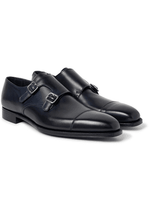 George Cleverley - Thomas Cap-toe Leather Monk-strap Shoes - Midnight blue