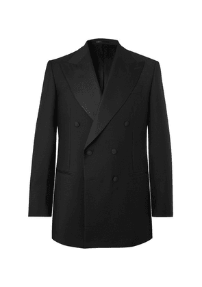 Maximilian Mogg - Black Slim-fit Double-breasted Faille-trimmed Mohair And Wool-blend Tuxedo Jacket - Black