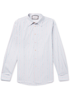 Gucci - Embroidered Striped Cotton Shirt - Blue