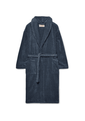Cleverly Laundry - Striped Cotton-terry Robe - Navy