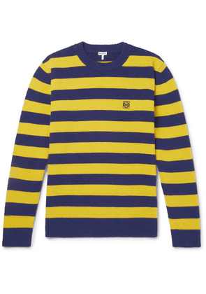 Loewe - Logo-embroidered Striped Wool And Cashmere-blend Sweater - Yellow
