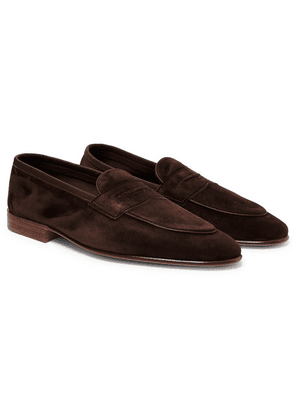 Edward Green - Polperro Leather-trimmed Suede Penny Loafers - Dark brown