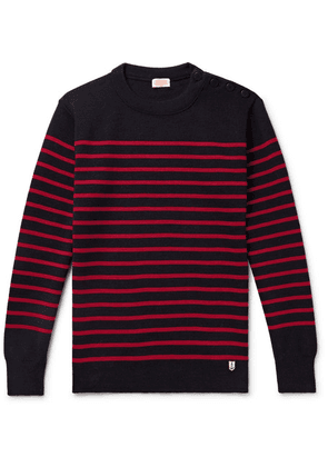 Armor Lux - Molene Slim-fit Button-embellished Striped Wool Sweater - Midnight blue