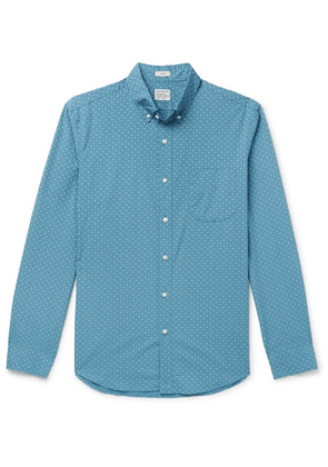 J.Crew - Slim-fit Button-down Collar Printed Stretch-cotton Shirt - Blue