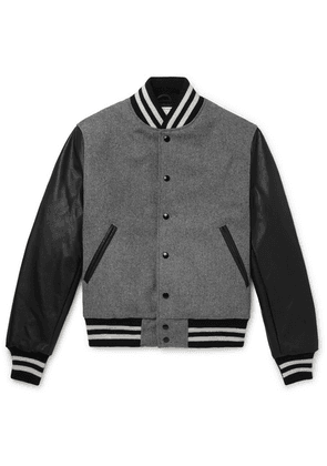 Golden Bear - The Albany Wool-blend And Leather Bomber Jacket - Gray