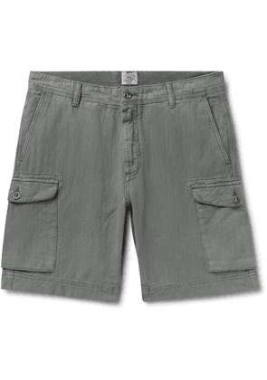 Faherty - Wide-leg Linen And Cotton-blend Cargo Shorts - Charcoal