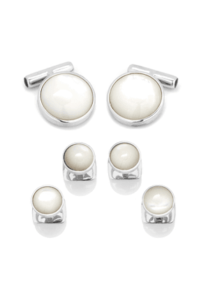 Mother-of-Pearl Sterling Silver Cuff Links & Stud Set