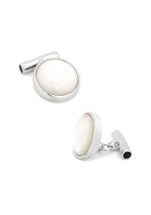 Ribbed Mother of Pearl Cuff Links