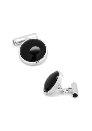 Sterling Silver Cuff Links with Ribbed Onyx
