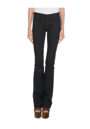 Exposed-Button Flare Jeans