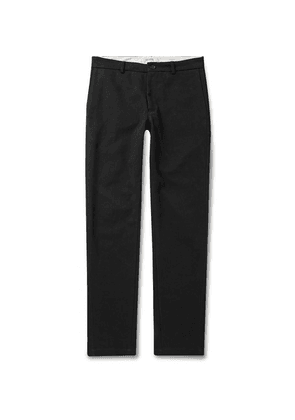 Freemans Sporting Club - Slim-fit Brushed Cotton-twill Trousers - Black