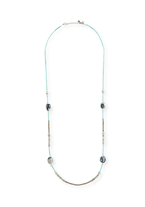 Old World Long Mixed-Stone & Pearl Necklace, 40'L