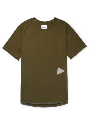 And Wander - Logo-print Jersey T-shirt - Army green