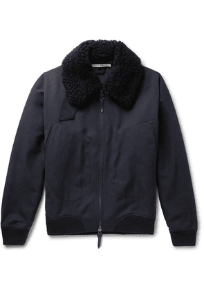Connolly - + Goodwood Shearling-trimmed Wool Jacket - Navy
