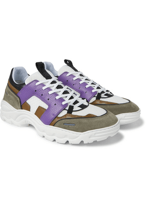 AMI - Lucky 9 Mesh, Suede And Leather Sneakers - Purple