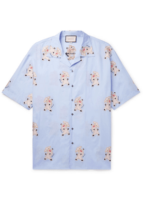 Gucci - Oversized Camp-collar Embroidered Cotton Shirt - Light blue