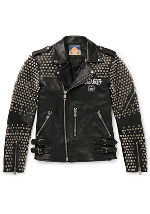 Blackmeans - Studded Logo-print Leather Biker Jacket - Black