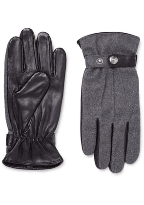 Dents - Guildford Mélange Flannel And Leather Gloves - Dark gray