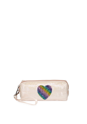 Puffy Pencil Case with Rainbow Heart