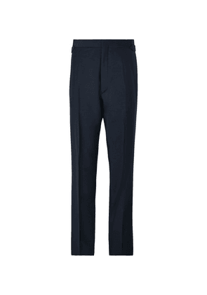 Maximilian Mogg - Midnight-blue Faille-trimmed Mohair And Wool-blend Tuxedo Trousers - Midnight blue