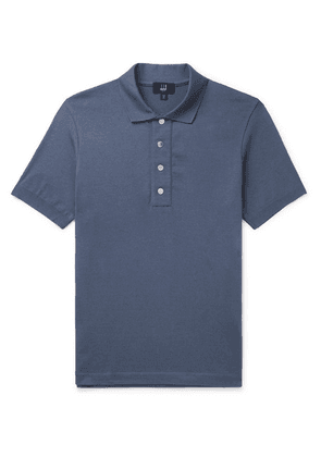 Dunhill - Knitted Cotton Polo Shirt - Blue