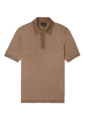 Dunhill - Herringbone-knit Mulberry Silk Polo Shirt - Camel