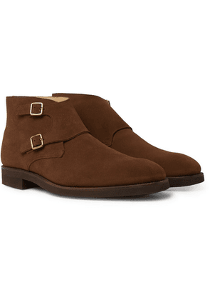 George Cleverley - Fry Suede Monk-strap Boots - Tan