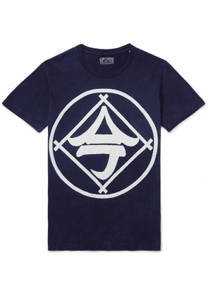 Blue Blue Japan - Indigo-dyed Printed Cotton-jersey T-shirt - Indigo