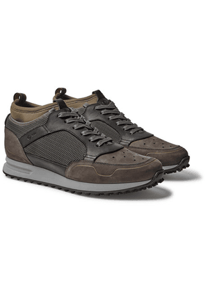 Dunhill - Radial Runner Neoprene And Leather-trimmed Suede And Mesh Sneakers - Dark green