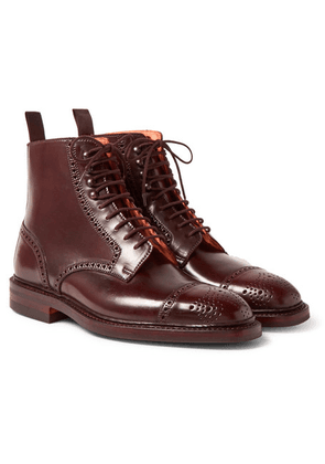 George Cleverley - Toby Cap-toe Horween Shell Cordovan Leather Brogue Boots - Burgundy