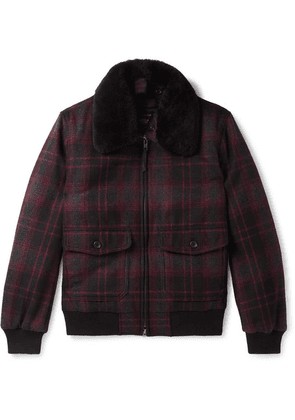 Golden Bear - The Pierce Shearling-trimmed Checked Wool Bomber Jacket - Charcoal