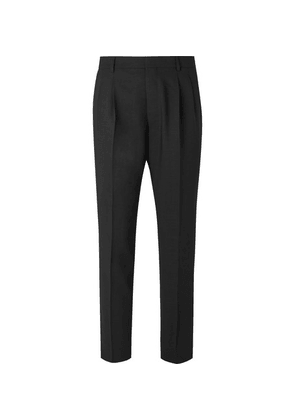 AMI - Black Tapered Pleated Wool Trousers - Black