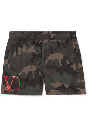 Valentino - Short-length Camouflage-print Shell Swim Shorts - Green