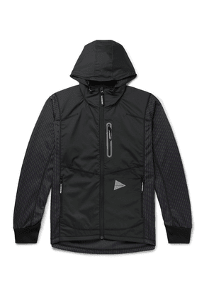 And Wander - Reflective-trimmed Fleece-back Shell And Jacquard-knit Hooded Jacket - Charcoal
