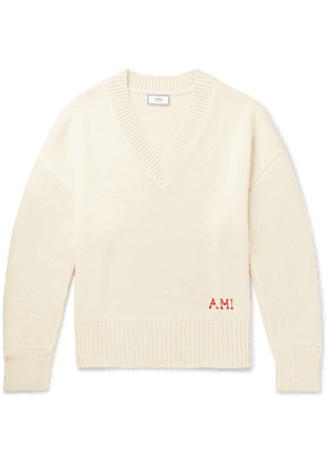 AMI - Oversized Logo-embroidered Wool Sweater - Off-white