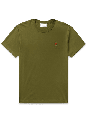 AMI - Logo-appliquéd Cotton-jersey T-shirt - Army green