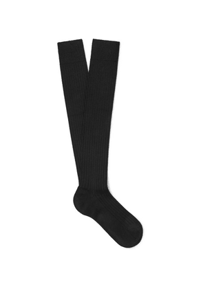 Charvet - Ribbed Cashmere, Wool And Silk-blend Over-the-calf Socks - Black