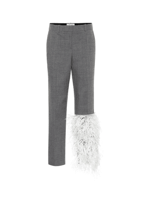Feather-trimmed wool pants