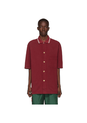 Gucci Red Pique Metallic Button Polo