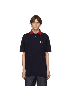 Gucci Navy GG Embroidery Polo