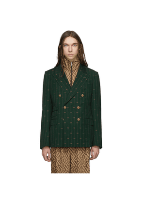 Gucci Green GG Striped Signoria Blazer