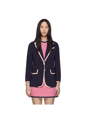 Gucci Navy Stretch Cady Jacket