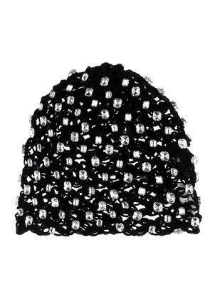 Crystal-encrusted cotton beanie