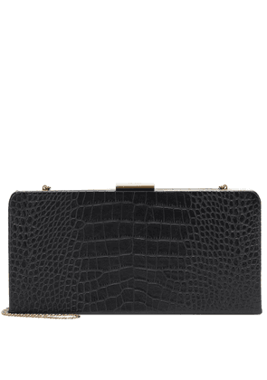 Evening croc-effect leather clutch