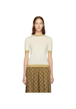Gucci Off-White and Gold Cashmere Sweater